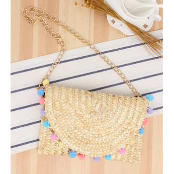BagsNew Japanese Three-dimensional Hand Embroidered Cherry Straw Bag Woven Beach Shoulder Colorful Ball Women