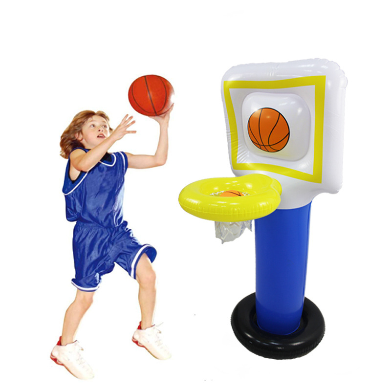 Купить с кэшбэком Inflatable Basketball Stands Table Entertainmental PVC Blow Up Basketball Goal Hoop Toy Set Kids Training Practice Outdoor Toys