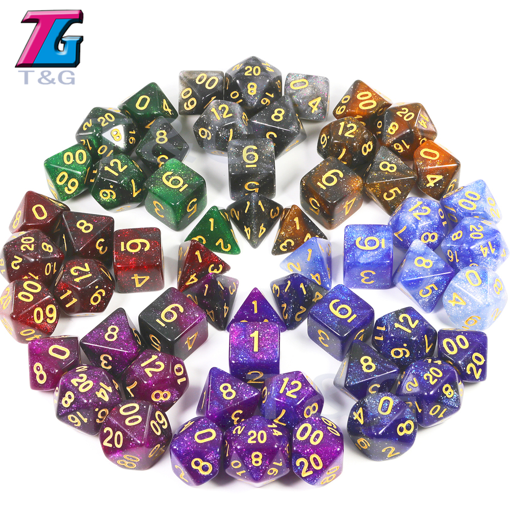2019 Super Universe Galaxy DND Dice Set D4-D20 Dungeons And Dragons RPG Best Gifts 16 Color For Choose