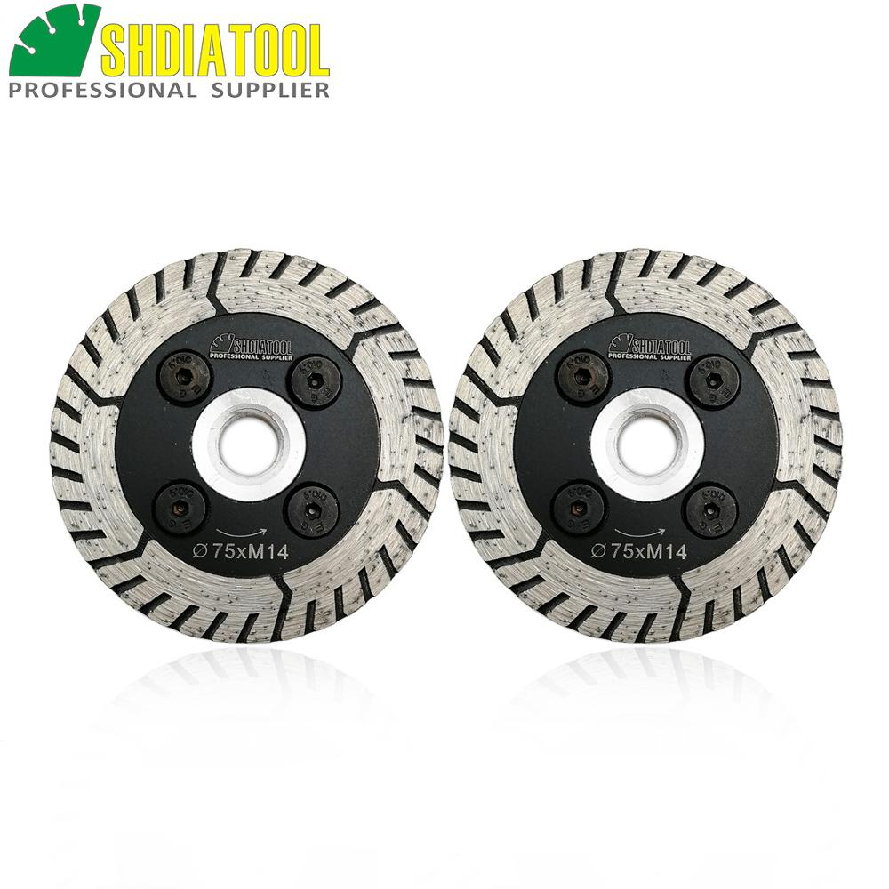 SHDIATOOL 2pcs Diamond Dual Saw Blade Diameter 75MM 115MM 125MM Cutting Grindng Disc Cut Grind Sharpen Granite Marble Concrete