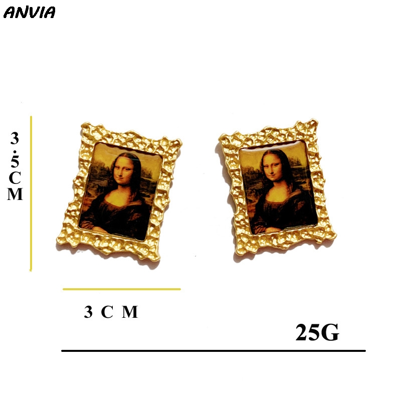 2019 Vintage Famous Oil Painting Accessories Mona Lisa/ Vincent Van Gogh Stud Earrings Metal Gold Jewelry For Women Statement