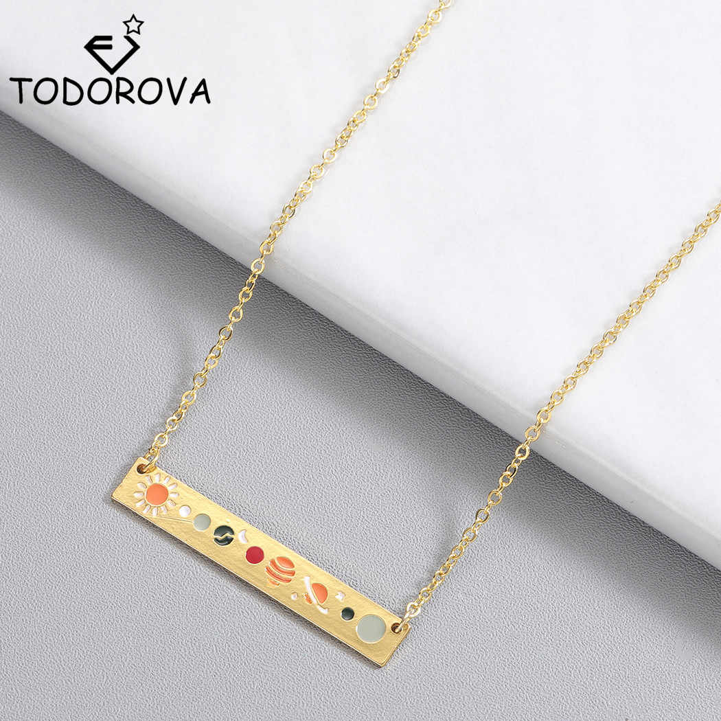 Todorova Stainless Steel Jewelry Gold Astronomy Lunar Moon Phase Pendant Necklaces for Women Galaxy Bar Necklace Choker Necklace