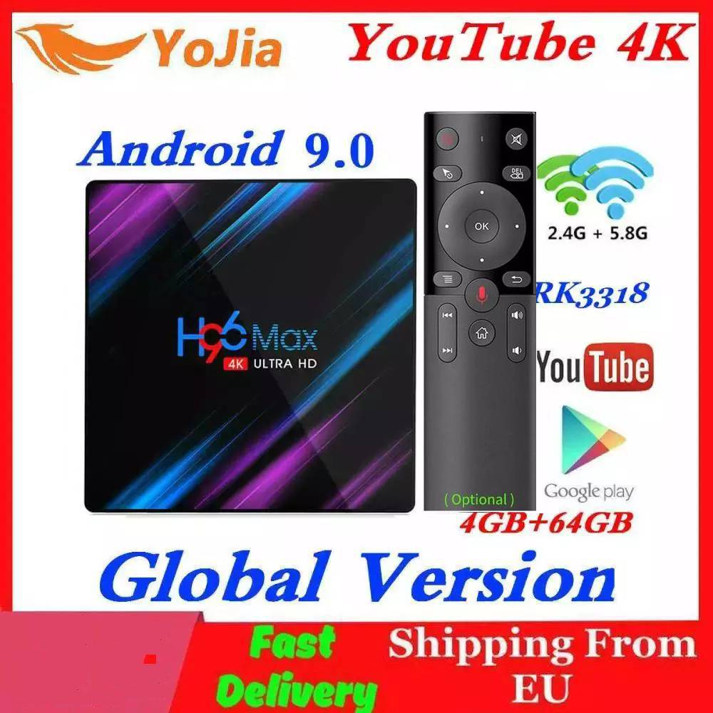 H96 MAX Smart TV Box Android 9.0 RK3318 4GB RAM 64GB ROM 32G 4K WiFi Media Player Google Voice Netflix Youtube 1G8G Set Top BOX(China)