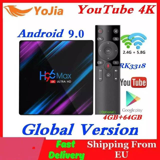 H96 MAX Smart TV Box Android 9.0 RK3318 4GB RAM 64GB ROM 32G 4K WiFi Media Player Google Voice Netflix Youtube 1G8G Set Top BOX