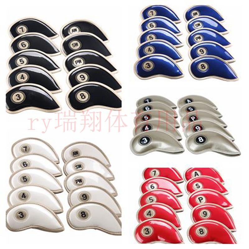 Golf Iron Rod Sleeve 10 Piece Set Crystal Pu Waterproof Dirt Material Irons Rod Cover Irons Protective Case