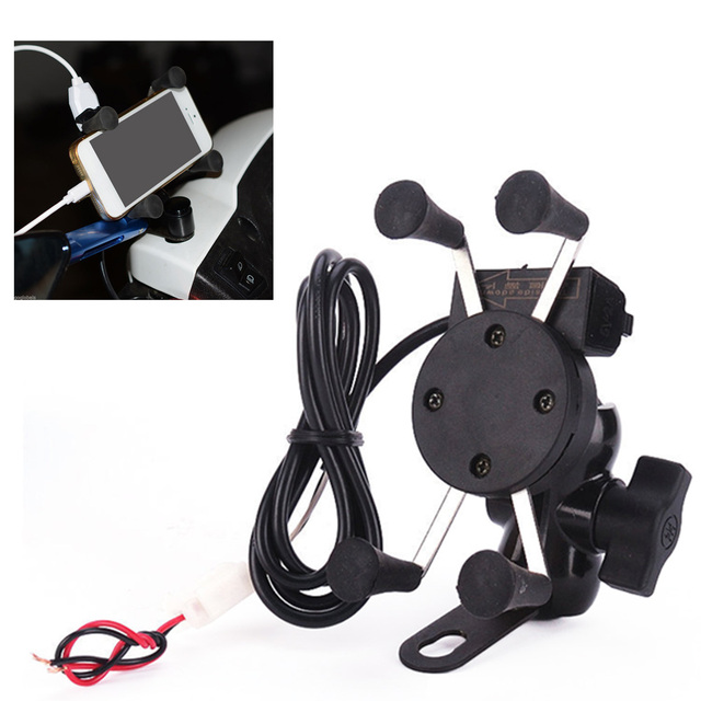 Besegad Motorcycle Mobile Phone Holder Mount Support With USB Charger 360Degree Rotation for Moto pouch 3.5 6 inch GPS bracker