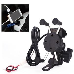 Image 1 - Besegad motocykl uchwyt telefonu komórkowego wspornik obsady z ładowarką USB 360 stopni obrót dla Moto etui 3.5 6 cal GPS bracker