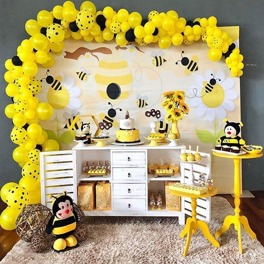 <font><b>Bee</b></font> Latex Balloon Arch Garland Theme <font><b>Party</b></font> DIY <font><b>Supplies</b></font> Kids Gender Reveal Birthday Decorations Disposable Tableware Baby Shower image