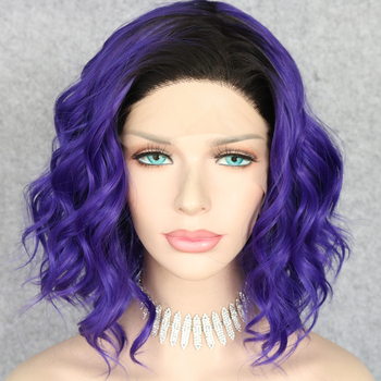 Lvcheryl Short Synthetic Lace Front Wigs Ombre Black To Dark Purple Curly Hair Heat Resistant Hand Tied Hair Wigs Free Parting