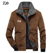 Daiwa Рыбацкая куртка зима осень флисовая рыболовная одежда толстый термальный отложной воротник Лоскутная Мужская одежда для зимней рубашки