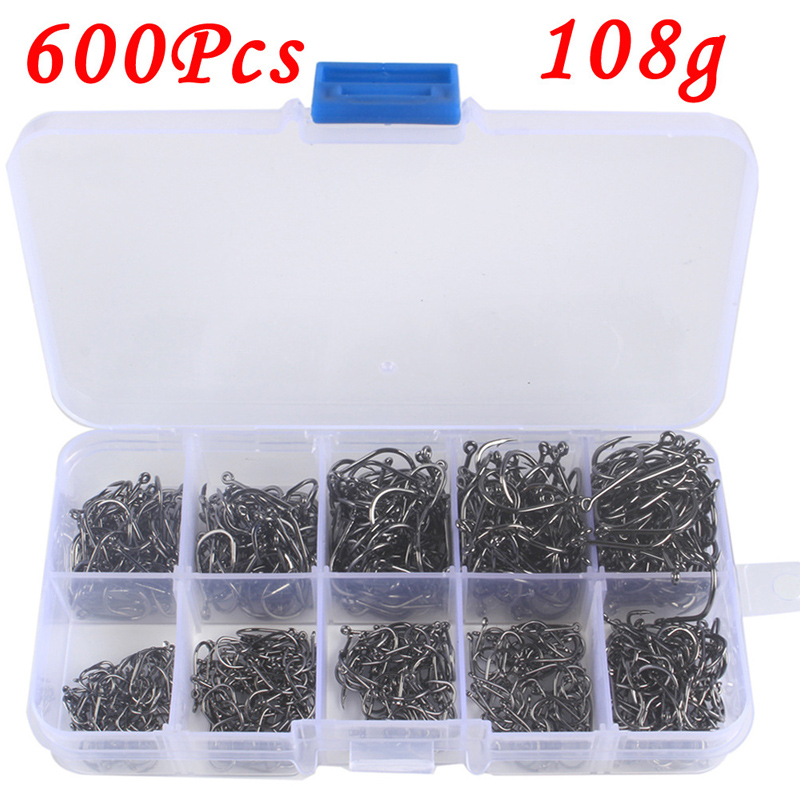 Top 600pcs Carbon Steel Barbed Fish Hooks 3#-12# Fishing Hooks Jig With Hole Carp Fly Fishing Hook Tackle Set Fishhooks Pesca