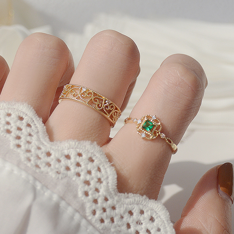 Korean Heart Pattern Lace Ring for Women Crystal Green Gem Bling Zircon Femme Ring Wedding Bridal Jewelry Pendant Accessories