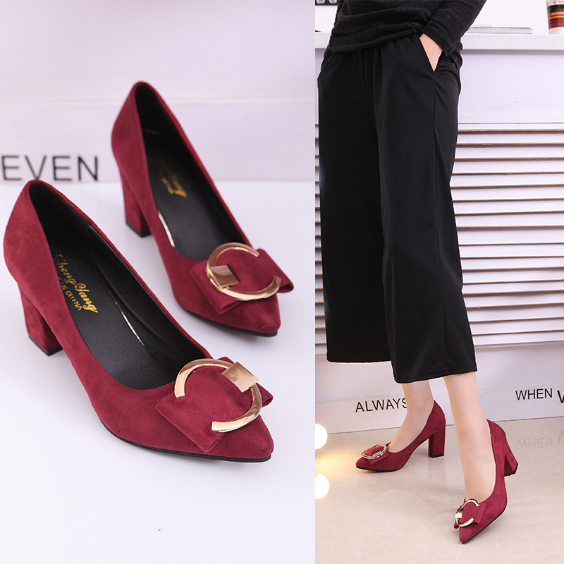 New Women Pumps Spring Women Square Heel Shoes Woman Shoes High Heel 7cm Office Leisure Work Shoes