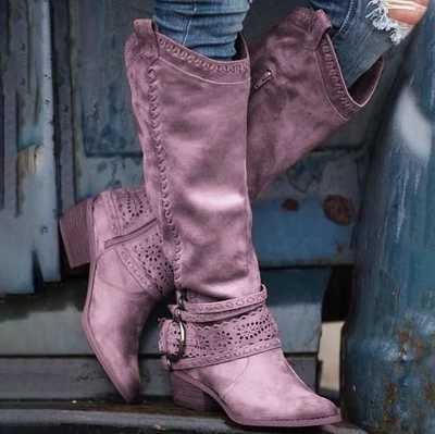 Femmes bout pointu boucle sangle talons hiver bottes longues chaussures plates nu daim noir ajouré genou bottes hautes