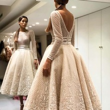Robe-De-Soiree Party-Dresses Prom-Gowns Ankle-Length Elegant Bige-Color Lace V-Back Full-Sleeves
