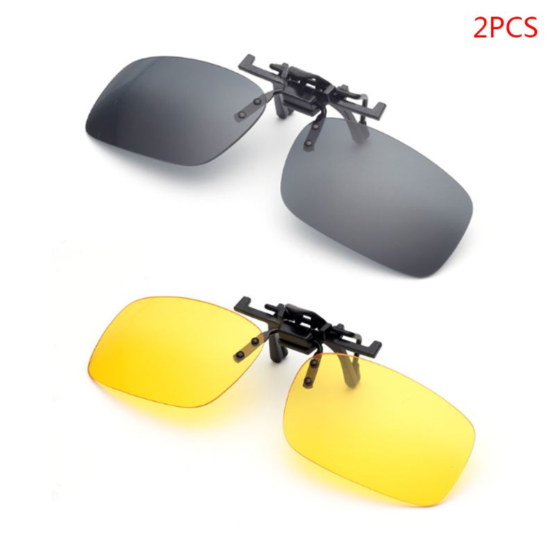 Two Pieces Sunglasses Lens Accessories Unisex Polarized Day Night Vision Lens Clip-on Flip-up Sunglasses Glasses