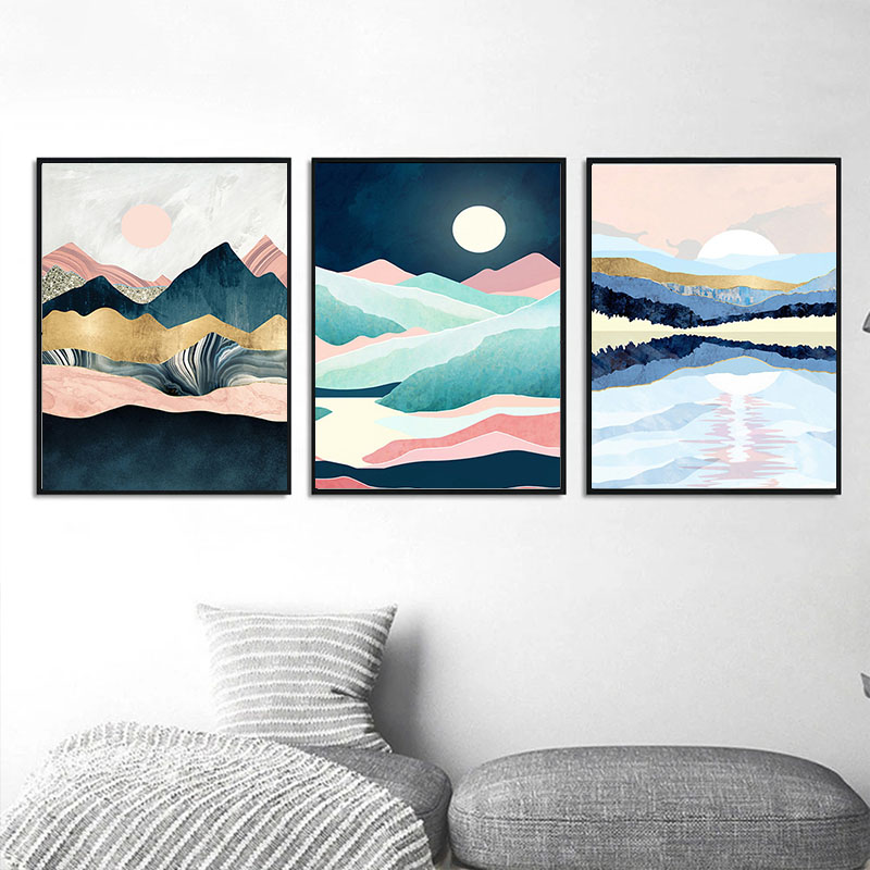 Gatyztory 3pcs Mountain Paint By Numbers For Adults Landscape HandPainted Oil Painting Canvas DIY Gift Home Decor 40×50cm