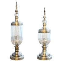 2 Pcs European Retro Glass Metal Vase Modern Artist Residence Decorative Artificial Flower Wedding Vase Gold Metal + Glass, Larg