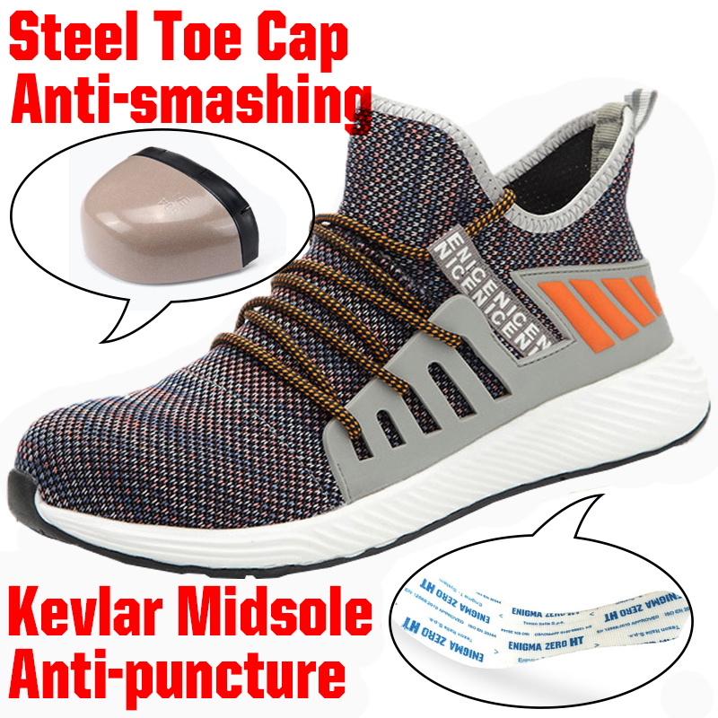 Lightweight Steel Toe Safety Working Shoes With Steel Toe Cap Men Indestructible Immortal Ryder Shoes Breathable Tennis Sneakers