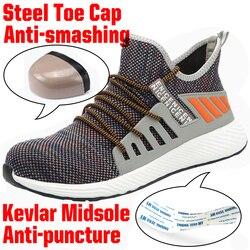 Sapatas de trabalho de segurança do dedo do pé de aço leve com tampão do dedo do pé de aço homem indestrutível imortal ryder sapatos tênis respirável