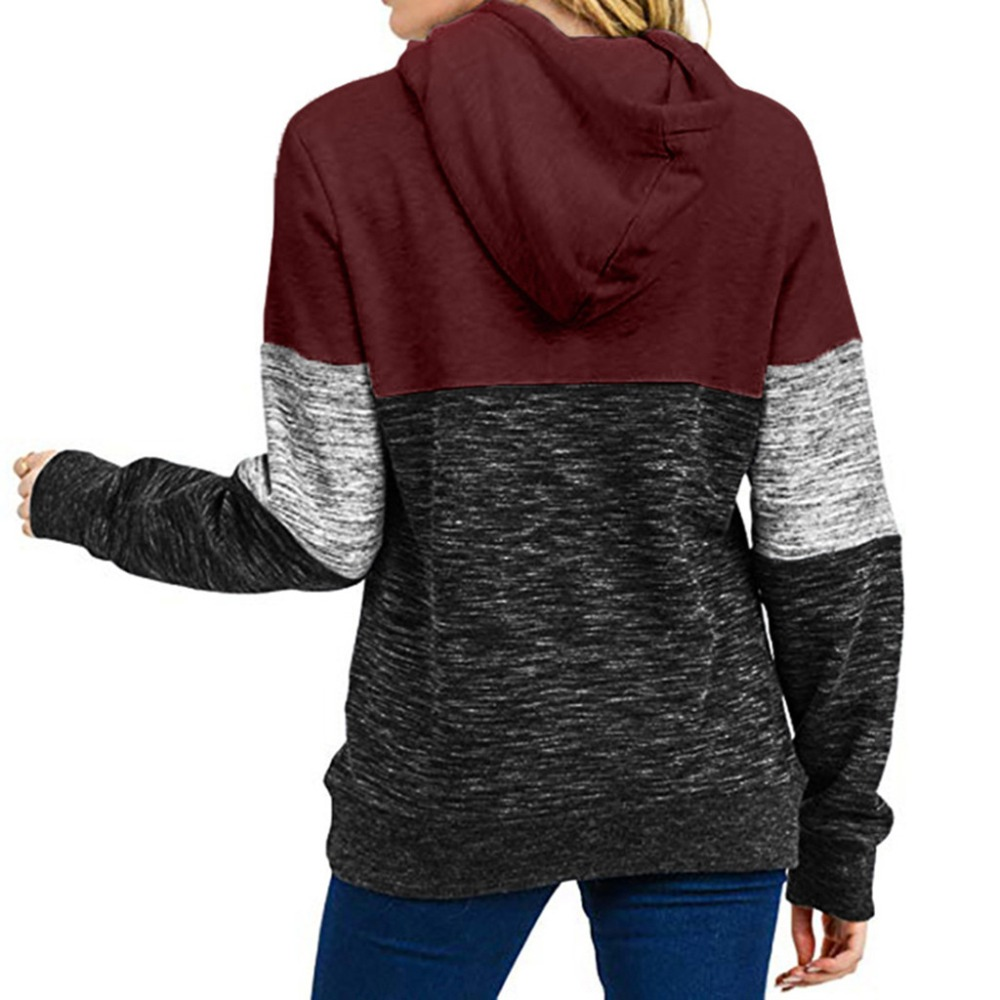 Patchwork Hoodies Sweatshirts Women Casual Pullover Tops Jumper Hooded Sweatshirt Female Hoodie Sudadera Plus Size S