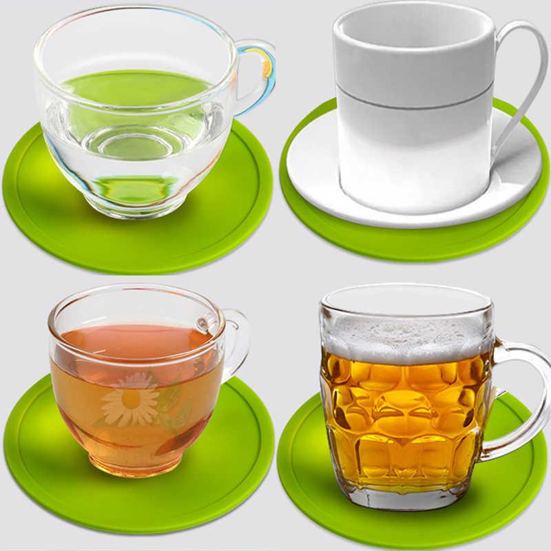3.9 Inch Silicone Coaster Tahan Panas Teh Cangkir Mat Banyak Minum Kopi Mug Kaca Minuman Pemegang Pad 13 Warna