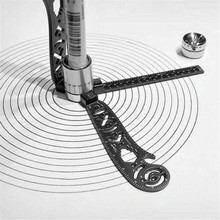 Magcon Tool Design Drawing Curved Metallic Ruler Mini Compass Protractor Combo-C