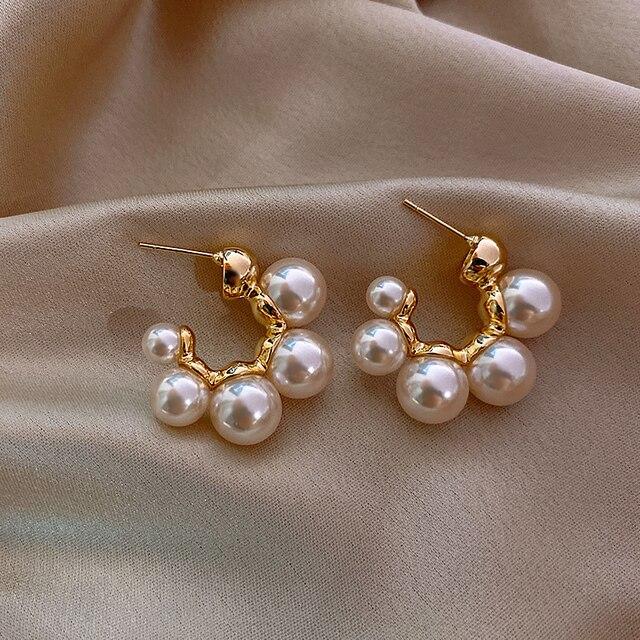 Elegant Celebrity Metal Inlaid Pearl Earrings For Woman Fashion Jewelry 2020 New Luxury Wedding Party Girl's Unusual Earrings 5
