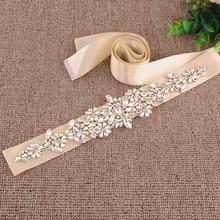 TRiXY S325-Г Sparkly Горный Хрусталь Пояса Свадебные Пояса Золотой Алмаз Платье Свадебные Ленты Лента Декоративная