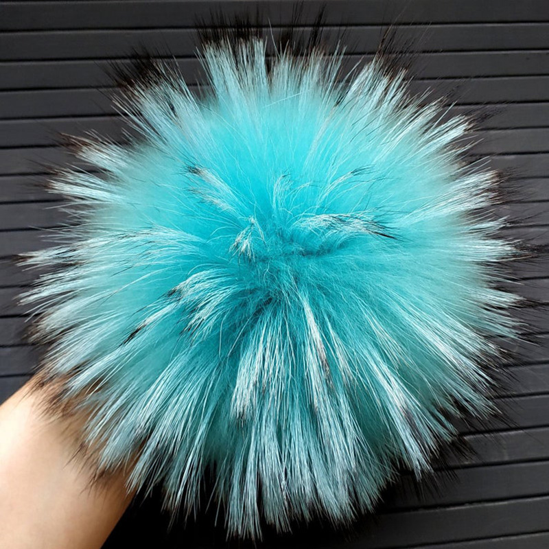 15-16cm Fur Raccoon Pom Pom Huge Fur Pompoms Turquoise Fur Raccoon Pom Poms Real Fur Pom Pom Pompom For Hat Beanie Holiday Gifts