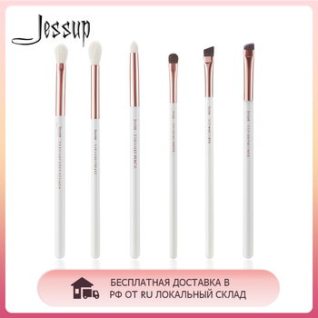 Jessup 6pcs Pearl White / Rose Gold Professional Makeup Brushes Set Make up Brush Tool Eye Shader Liner natural-synthetic hair jessup brushes rose gold black professional makeup brushes set foundation powder make up brush pencil natural synthetic hair