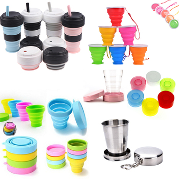 1pc Portable Silicone Folding Water Cup Collapsible Style Funnel Hopper Travel Outdoor Camping Drinkware kitchen accessories image