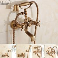 Bathtub Faucet Antique Brass With Hand Shower Wall Mounted Bathroom Bath Faucet Dual Holder Crane Torneiras Taps EL8311