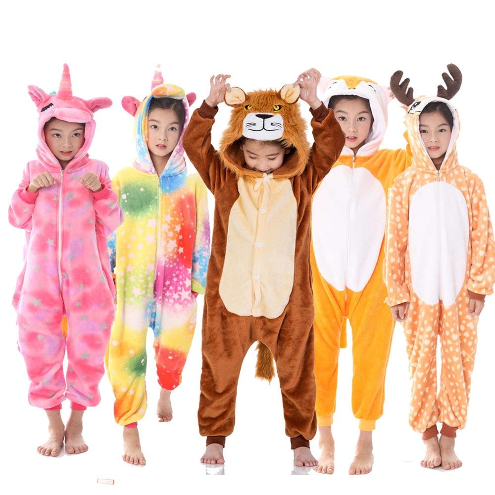Одежда для девочек, детские пижамы с жирафом, единорогом, Мультяшные животные, розовый комбинезон с единорогом, Комбинезоны для сна, костюм ...