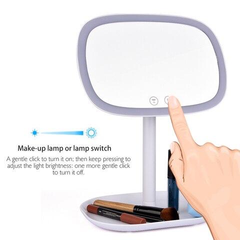 47 luzes led 360 espelho rotativo desktop espelho de tela sens vel ao toque maquiagem