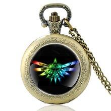 Vintage The Legend of Zelda Symbol Glass Dome Quartz Pocket Watch Classic Men Women Bronze Necklace Pendant Gifts