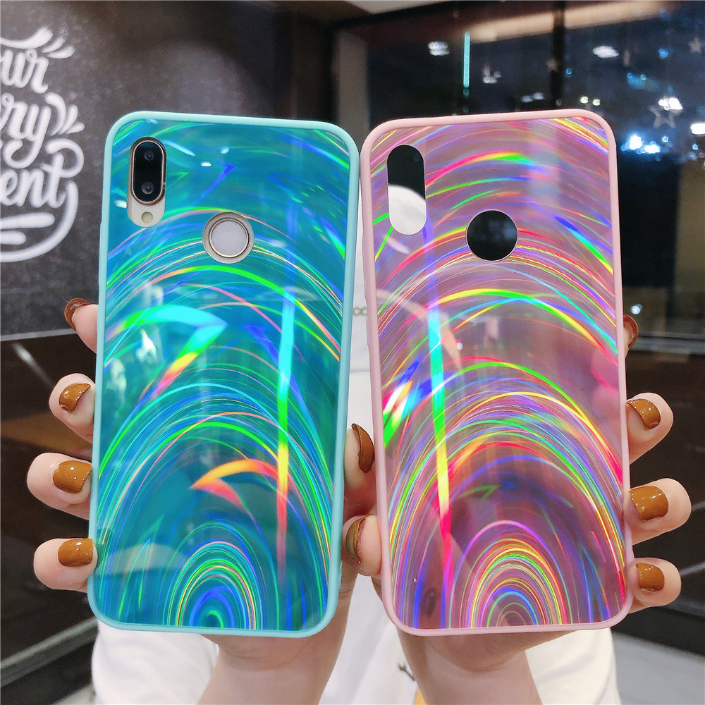 Gradient Rainbow Cases For Huawei Honor 10 Lite 9A 9C 8A 9S 8S 20 Lite Case on For Huawei Y5P Y6P Y7P Cover Glitter Phone Shell