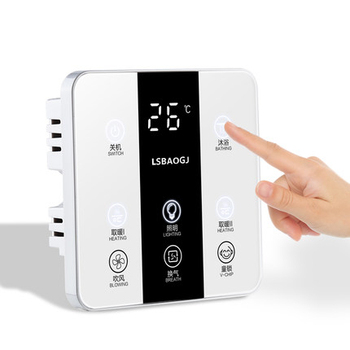 6 In 1 English menu Multifunction Smart Touch Yuba Switch Socket 6 Gang Bathroom Universal Waterproof Smart Touch Screen 86*86mm 8
