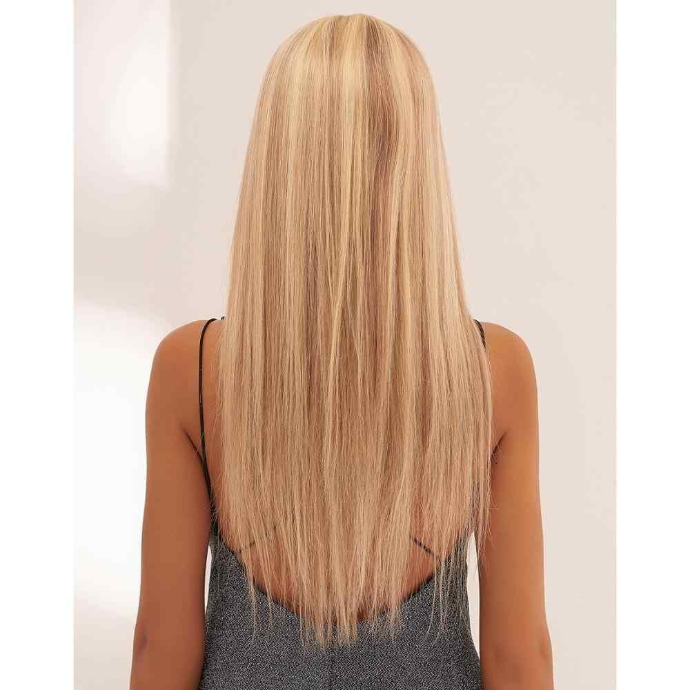 Mw pré arrancadas loira remy cabelo humano metade do laço peruca 20 polegadas de longa reta ombre frontal perucas para mulher fedex entrega rápida