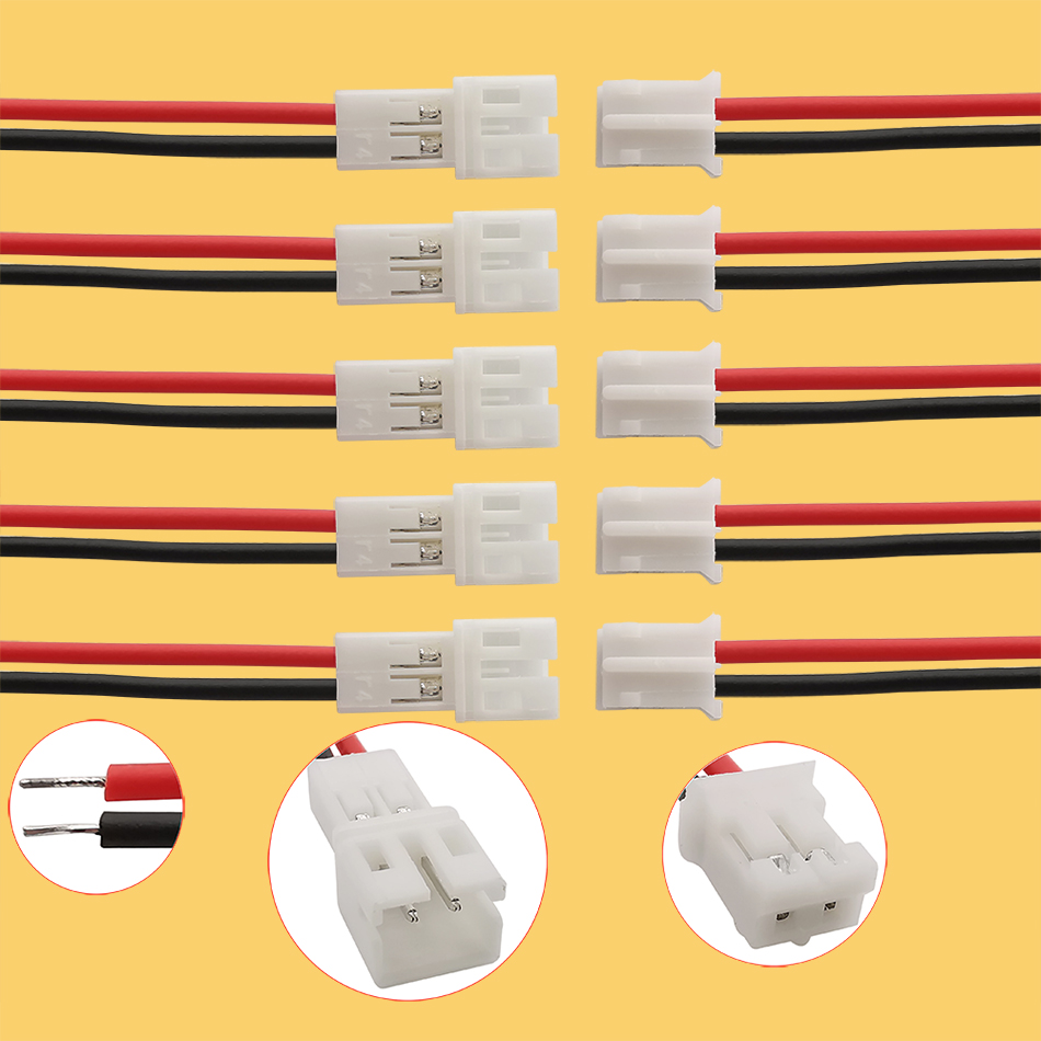 5/10/20 pares 20cm 2pin jst ph 2.0 conectores jst cabo macho plug para fêmea jack 2p passo 2.0mm 26awg fio conector