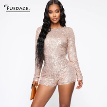 Fuedage Herfst Sexy Vrouwen Jumpsuit Pailletten Bodycon Backless Sparkle Glitter Clubwear Lange Mouwen Club Party Jumpsuit Rompertjes(China)