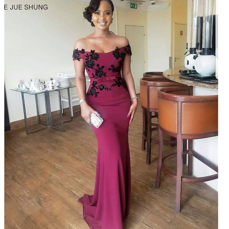 E JUE SHUNG Burgundy And Black Lace Mermaid Bridesmaid Dresses Long Off The Shoulder Lace Up Back Wedding Party Dresses