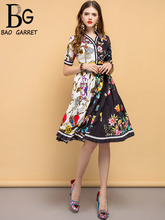 Baogarret Summer Fashion Runway Vintage Dress Womens V Neck Patchwork Printed Ladies Party Elegant