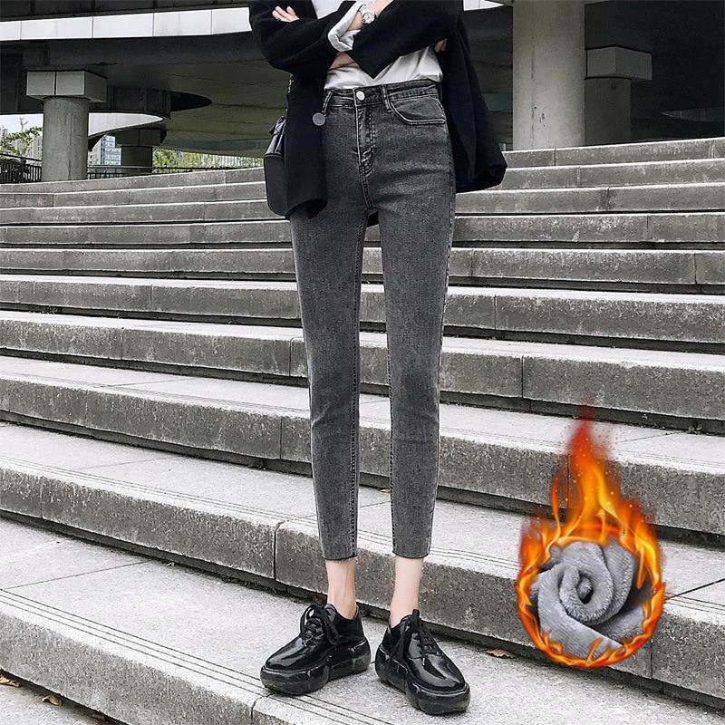 Vadiming женские джинсы 2019 осенние и зимние корейские джинсы с высокой талией черные широкие брюки женские свободные прямые брюки для папы - 2