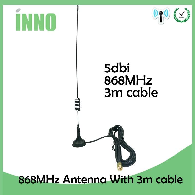 10 pçs/lote 868 mhz 915 mhz 900 a 1800 mhz gsm antena 3g 5dbi sma macho com 300cm cabo rg174 otário antena