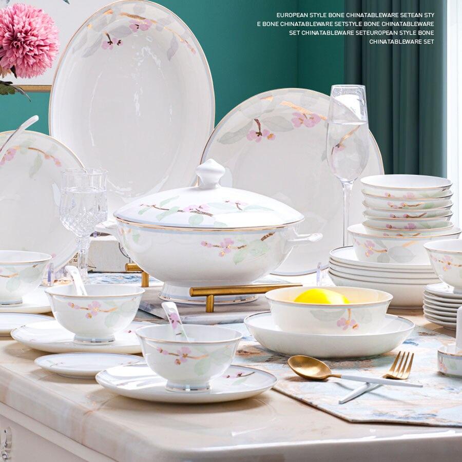 Jingdezhen céramique 60 têtes | Vaisselle de table, service de plats en porcelaine, Pot bol de riz, salade bol de nouilles