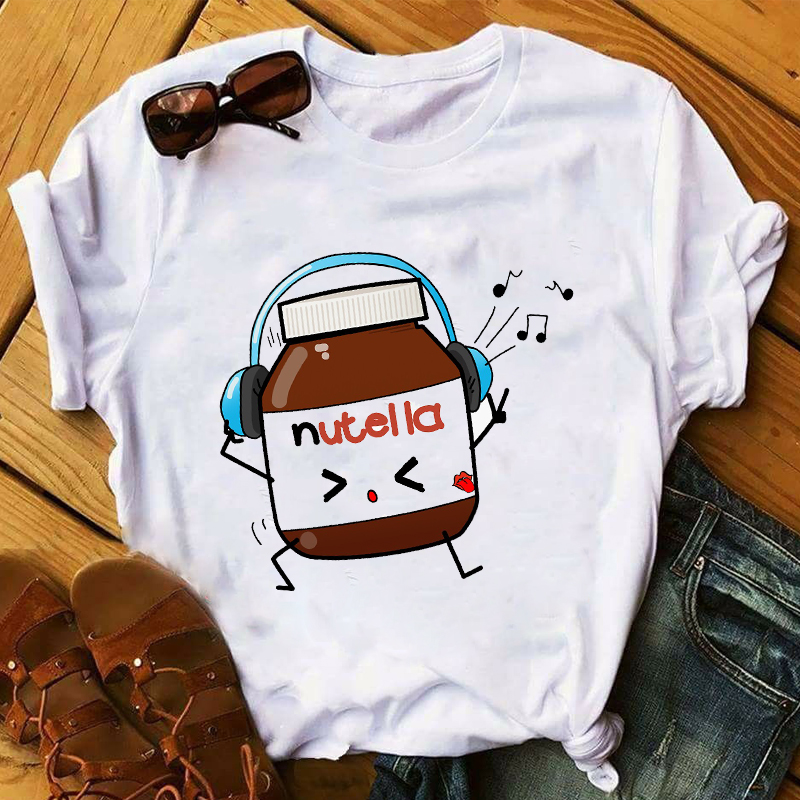2020 Summer Nutella Women 90s Harajuku Fashion O Neck T-shirt Graphic Cute Cartoon T-shirt Korean Style Top T-Shirts Woman Femme