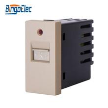 Three color usb socket with light indicator,1/2 usb wall charher socket part,no frame,EU/UK,Hot sale