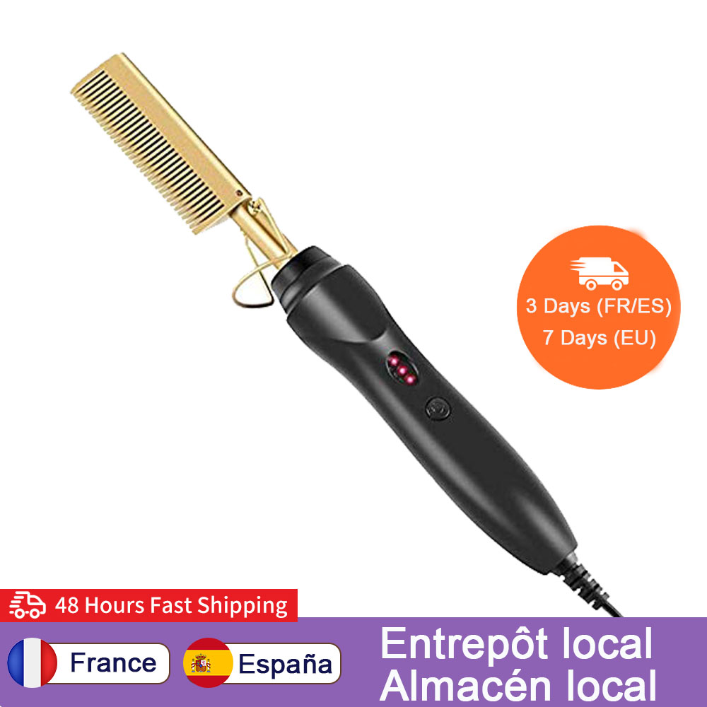 Heat Pressing Comb Electric Hot Comb Hair Straightening Curling Flat Iron Curlers Anti-Scald Copper Beard Hair Straightener
