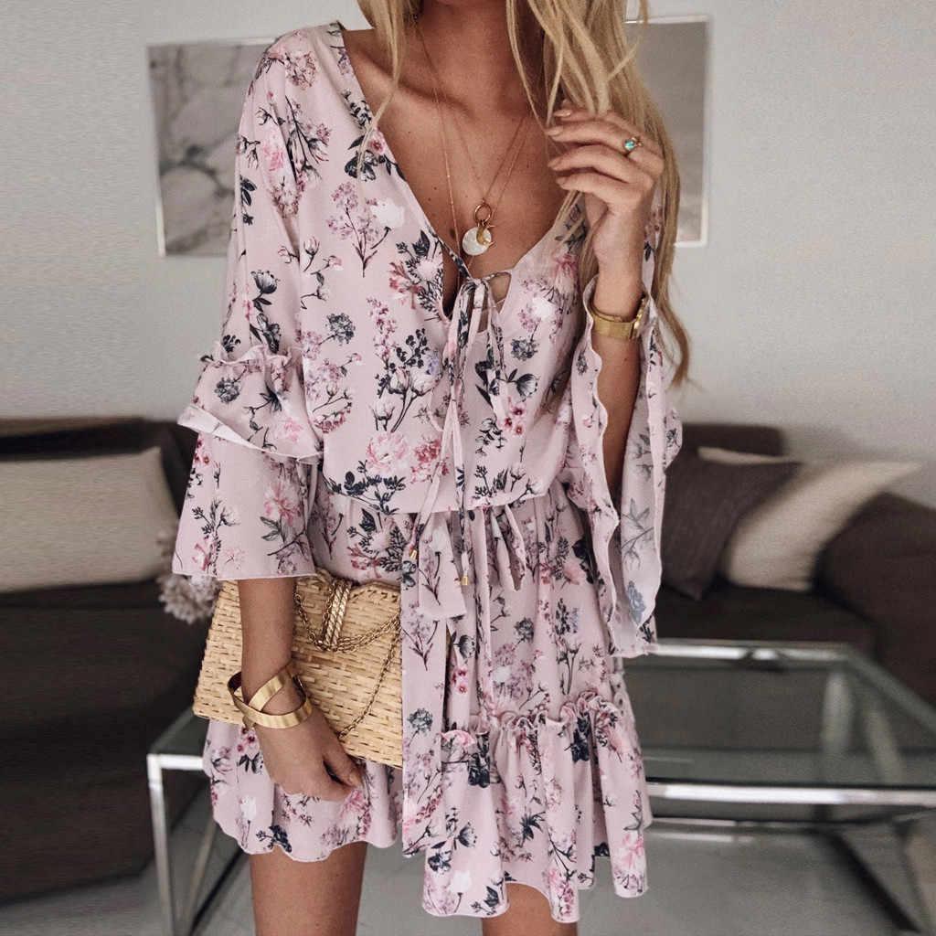 비치 드레스 2020 Summer Womens Boho 플로랄 미니 스윙 드레스 Summer Holiday Beach Ruffle Frill Sundress Vestidos Verano пааarticle е е #38